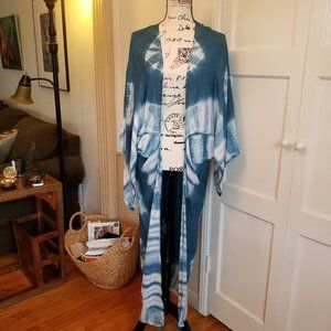 Free People Kimono Floor Length Blue and White